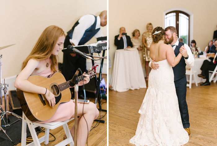 friend serenading the newlyweds