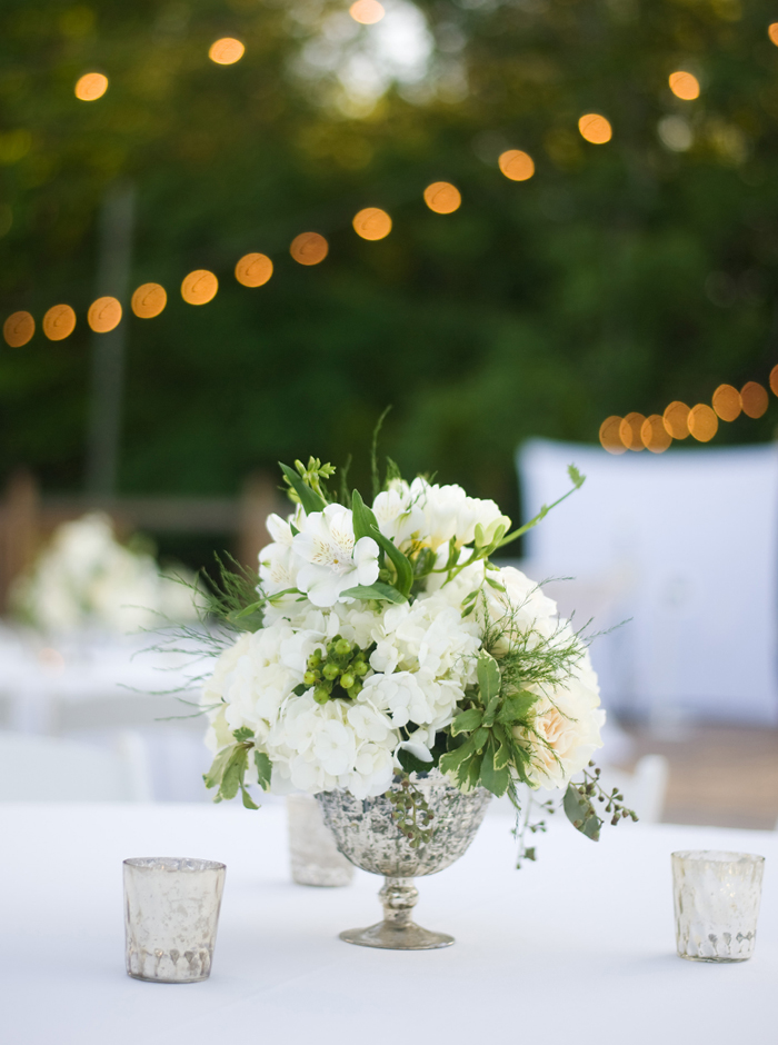 white and green centerpiece
