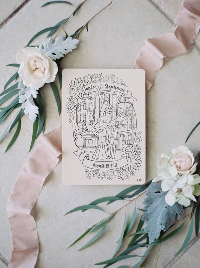 hand drawn invitation by groom
