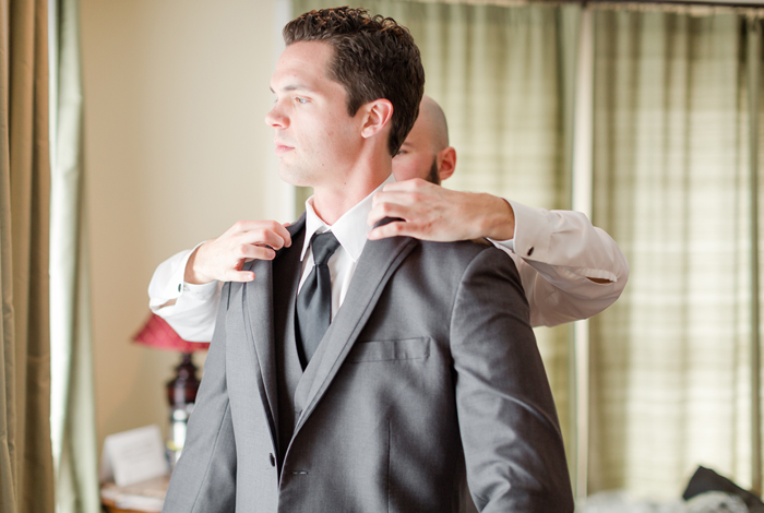 dark grey groom's suit
