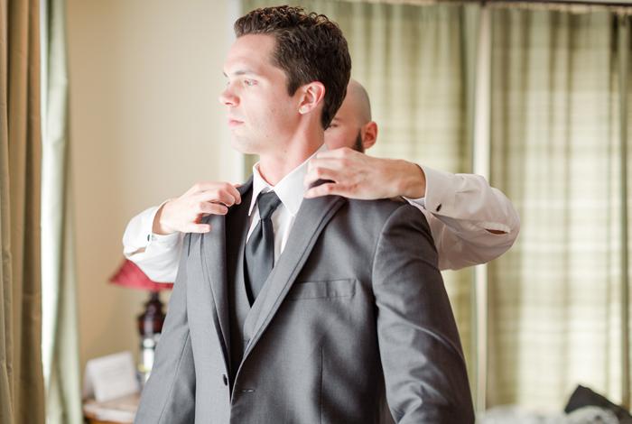 dark grey groom's suit