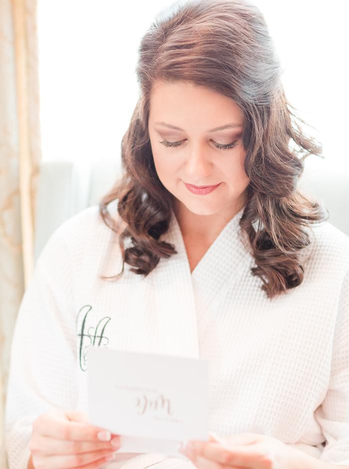 bride reading letter