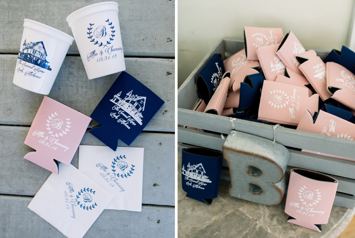 blush and navy koozies
