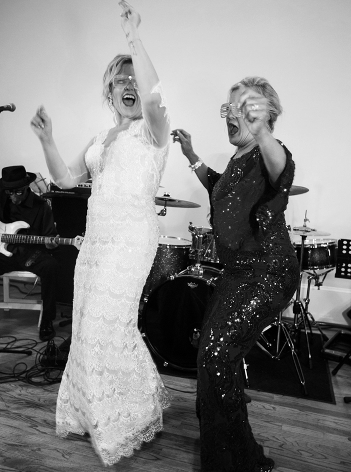 bride and mom on stage
