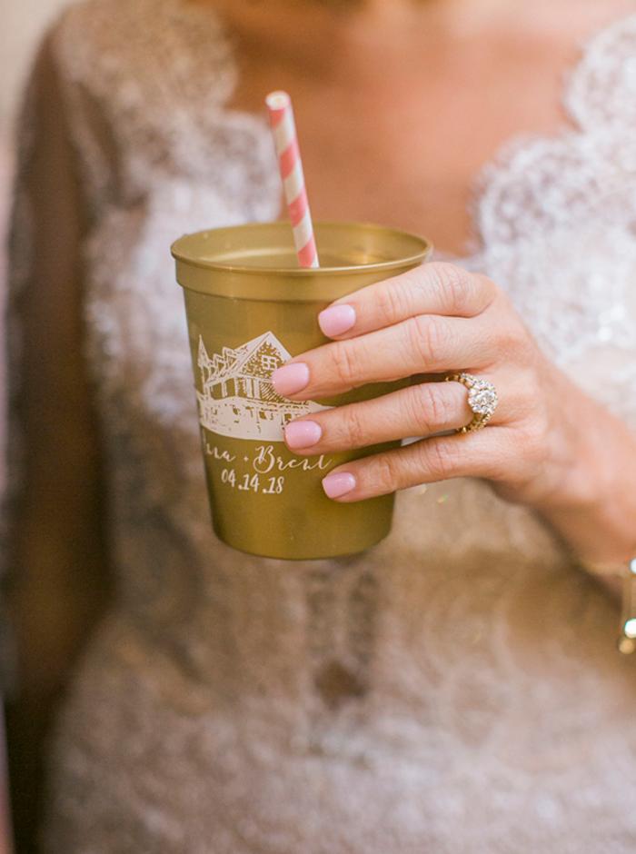 gold monogram cups
