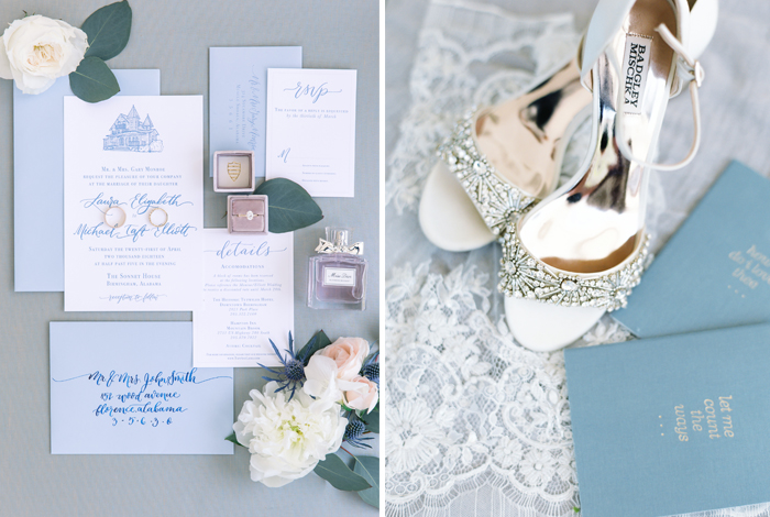 french blue invitation suite