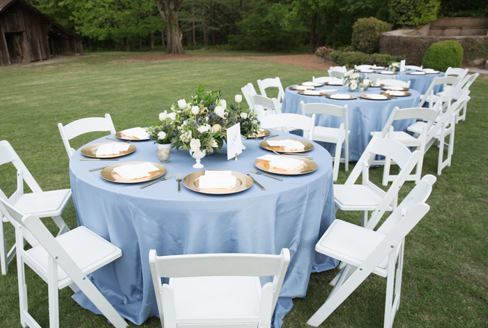 blue tablecloths