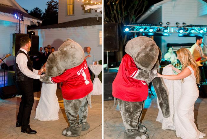 mascot at wedding reception