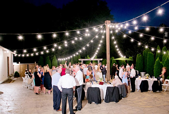 courtyard reception under lights