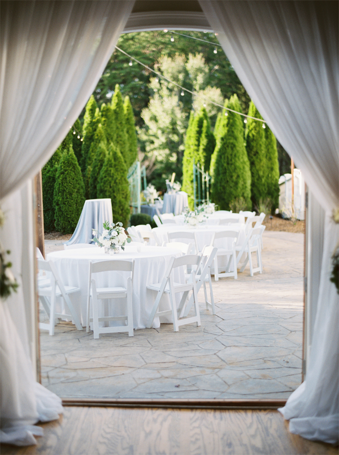 white drapery at reception