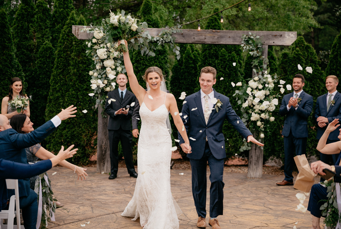 rose petal toss during recessional