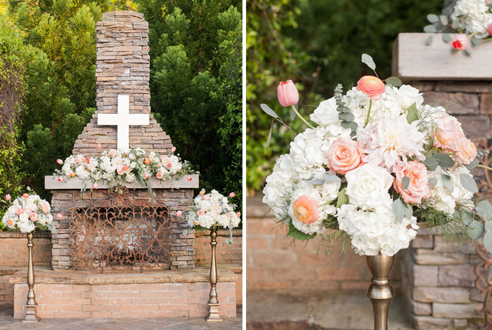 peach and gold wedding