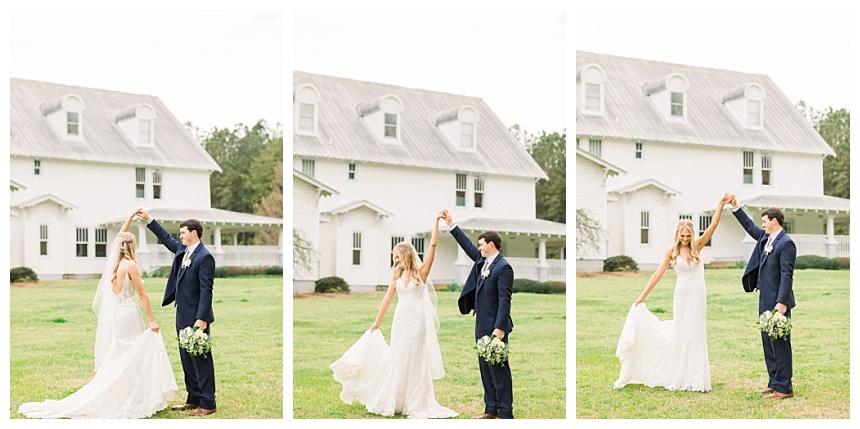 groom twirling the bride