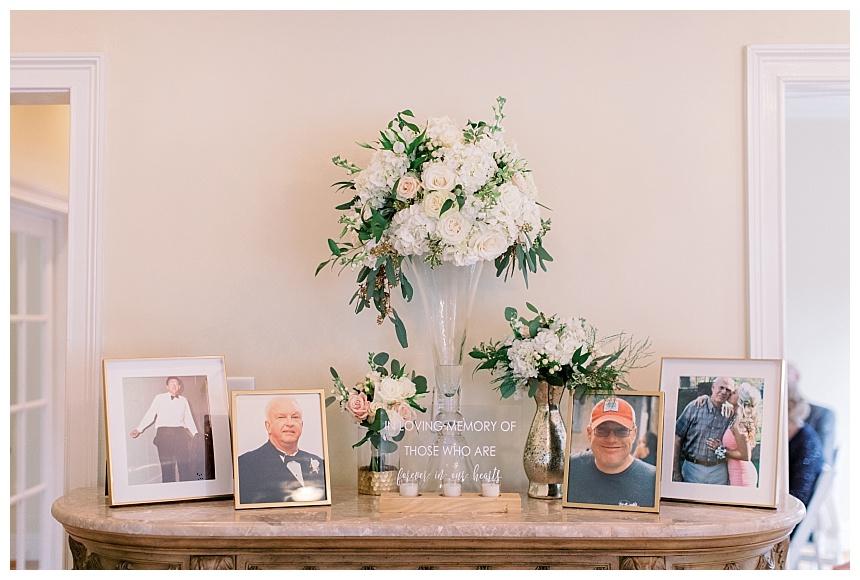 memorial table flowers